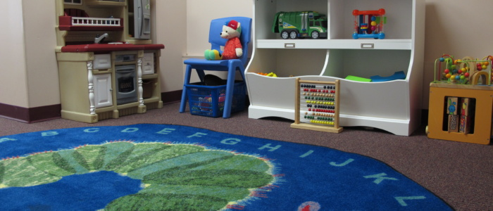 West End Branch reading area with toys