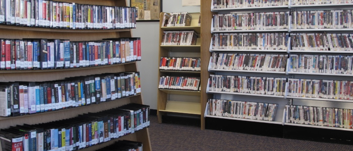 audiobooks and DVDs on shelves