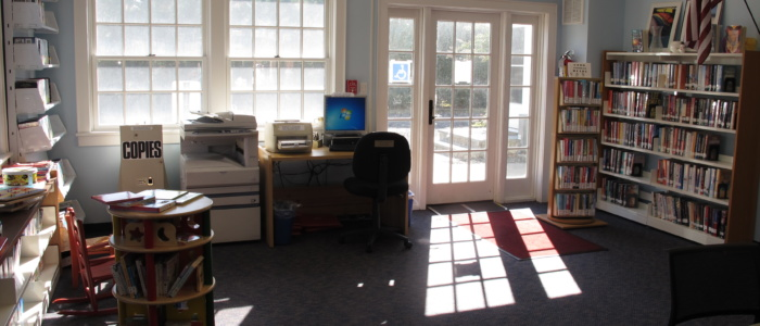 Point Lookout branch interior, with books and computer