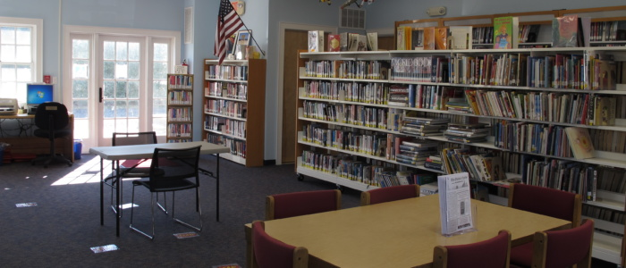 Point Lookout branch interior, bookcases and seating