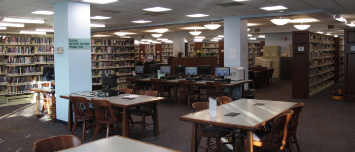 main library reading area with public computers