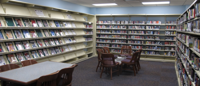 main library magazine and audiobook area