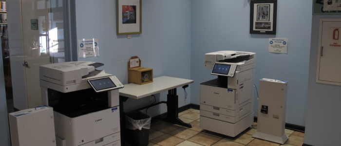 copiers in main library lobby